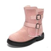 雪靴 女童雪地靴2019秋冬款新款加絨加厚冬季兒童英倫風靴子時尚小短靴27-38碼 3色