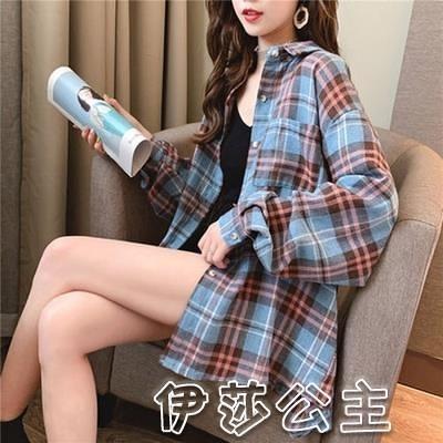格子衫 現貨格子襯衫女設計感小眾長袖韓版復古港味冷淡風襯衣春裝-17