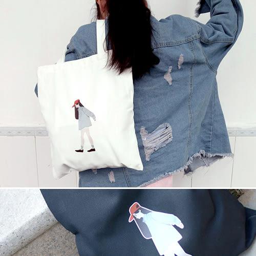 帆布袋 手提包 帆布包 手提袋 環保購物袋--單肩/拉鏈【DE7601】 icoca  08/24