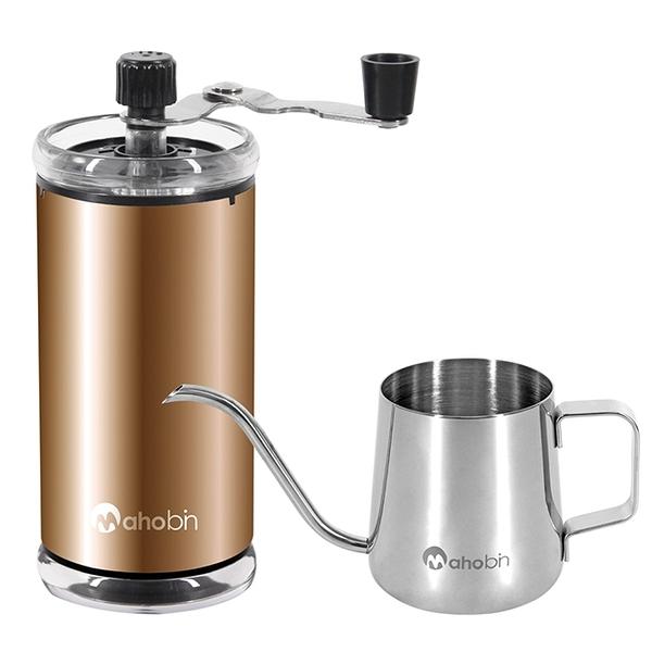 Mahobin魔法瓶 精緻組手搖咖啡研磨機/磨豆機+耳掛式咖啡手沖壺細嘴壺350ml