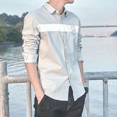 夏季男士襯衫男長袖青年七分袖正韓修身潮流帥氣短袖襯衣薄款 森雅诚品