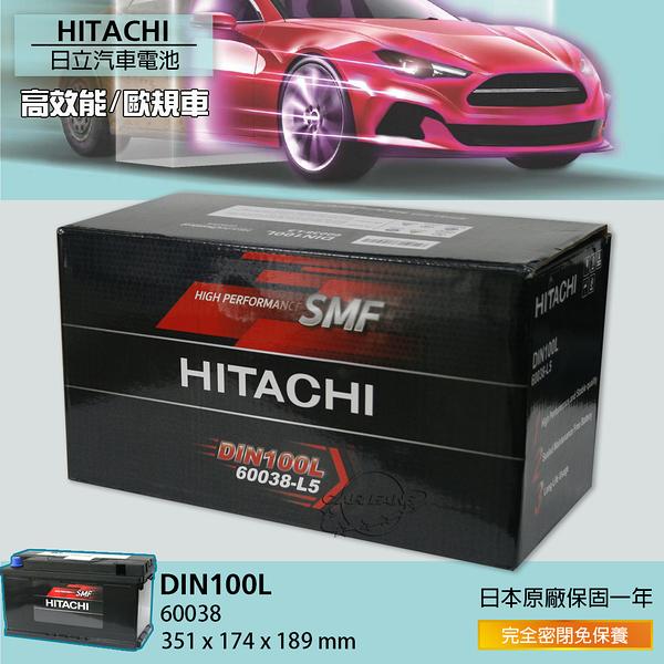 【愛車族】HITACHI 日立 DIN100 60038 100AH 汽車電瓶/專用電池/電瓶 日立獨家電瓶技術