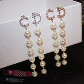 韓國款長款珍珠鑲鑽耳釘耳墜耳環 夸張氣質百搭女耳飾