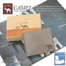 CAMEL卡梅爾駱駝真皮夾牛皮包短夾男夾-中翻可拆12004-3灰