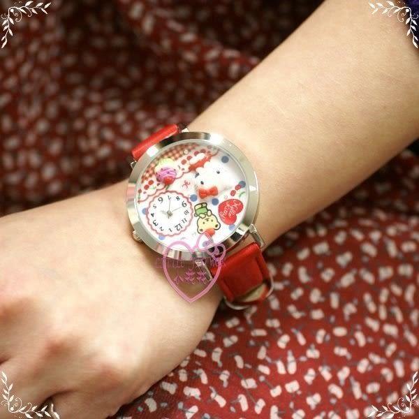 ♥小花花日本精品♥ Hello Kitty 手錶 卡通錶 生日禮物 立體浮雕櫻桃蛋糕 皮革錶帶 99910709