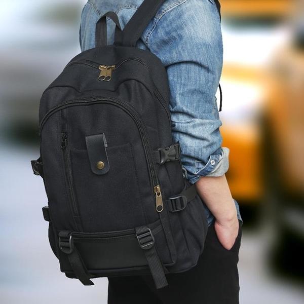 男士后背包休閒被包青年書包潮男土上班帆布裝衣服的李雙肩包 童趣潮品