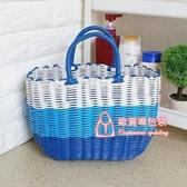 野餐籃 塑料編織收納菜籃子購物籃手提籃針線寵物野餐籃買菜藍子洗澡籃子T 7色