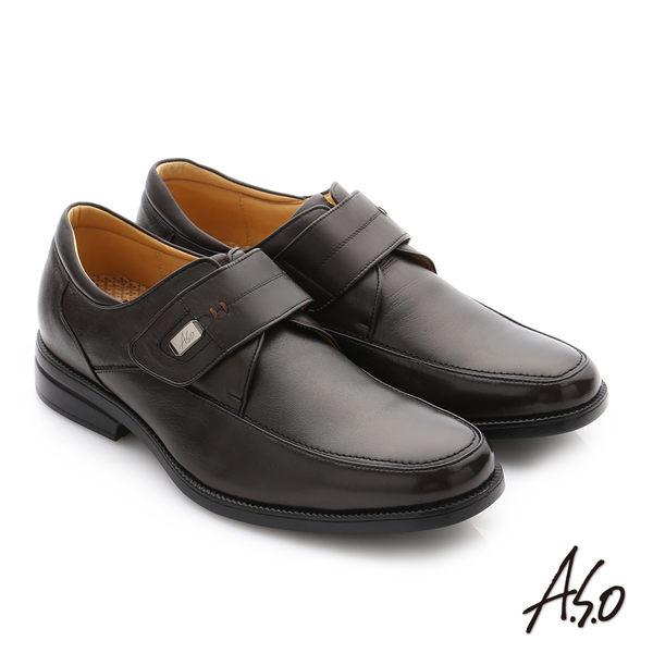 A.S.O 頂級氣墊挺霸系列 羊皮魔鬼氈奈米紳士皮鞋 咖啡