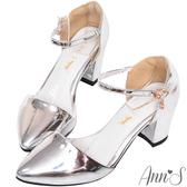Ann'S Lovely-搖曳水鑽顯瘦側V繫踝尖頭粗跟鞋-銀