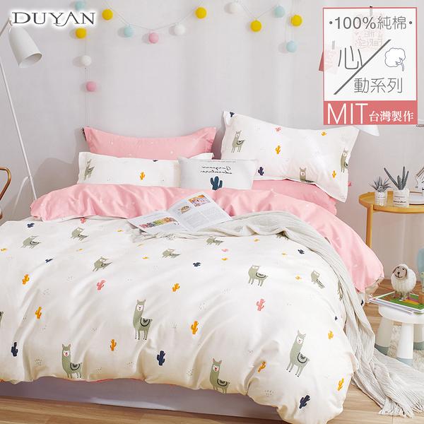 《DUYAN竹漾》100%精梳純棉雙人加大床包三件組-羊駝先生你好