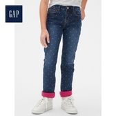 Gap女童中腰直筒牛仔褲長褲495001-靛藍色波點