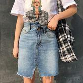 開叉牛仔半身裙女夏裝新品韓版復古百搭高腰顯瘦包臀裙短裙學生潮 限時八五折