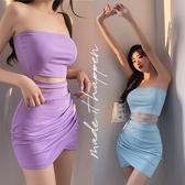 SISI【E20010】兩件式套裝露肩平口繞頸短版半截小可愛背心上衣露腰高腰交叉抓皺短裙半身裙茶歇裙