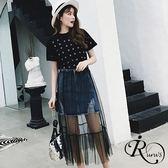 韓系可愛短袖T+小蕾絲網紗半身兩件裙 (RT0019-PQ57546) iRurus 路絲時尚