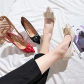 網紅鞋子女2018新款韓版百搭高跟鞋季女士黑色細跟尖頭圓扣單鞋 金曼麗莎