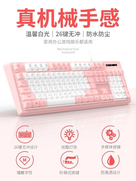 鍵盤 有線鍵盤臺式電腦筆記本辦公專用打字遊戲薄膜可愛少女心網紅女生【快速出貨】