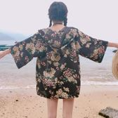 原宿五分袖上衣繫帶碎花防曬衣連帽和服開衫薄款短外套女夏學生潮