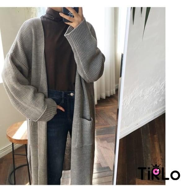 針織外套 -Tirlo-長版口袋開襟針織外套-三色(現貨)