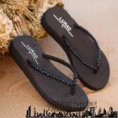 路拉迪中跟水磚人字拖鞋 夏季女士防滑沙灘涼拖厚底坡跟時尚夾拖【潮咖地帶】