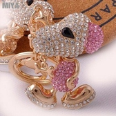 MiYA Snoopy 韓國史努比捷克水鑽包包掛飾鑰匙圈扣 粉紅