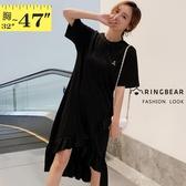 小洋裝--休閒簡約A字不規則荷葉邊波浪接片圓領短袖連身裙(黑M-3L)-D556眼圈熊中大尺碼◎