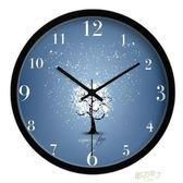 簡約小清新藍色藝術時鐘 唯美溫馨臥室掛鐘客廳裝飾表靜音壁掛鐘