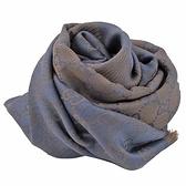 【雪曼國際精品】GUCCI 古馳經典GG緹花線條羊毛混絲斜紋雙色流蘇披巾/圍巾(藍咖啡X紫藍/140X140cm)