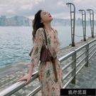 2021年碎花V領洋裝新款韓版腰帶顯瘦溫柔風長裙碎花過膝潮【全館免運】