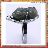 玉貔貅鋼戒(內圍17.5mm)【十方佛教文物】