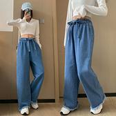 S-6XL大碼牛仔長褲~高腰綁帶牛仔褲女百搭直筒闊腳褲大碼女裝230斤6999.1F039衣時尚