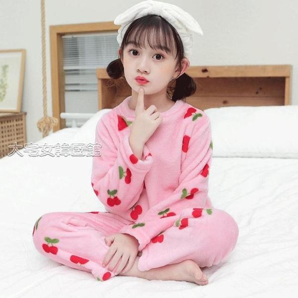 兒童睡衣兒童法蘭絨睡衣套裝秋冬男女童珊瑚絨卡通繡花家居服中童加厚童裝 快速出貨