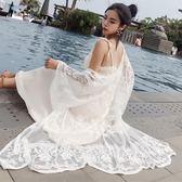 夏季新款韓版長袖刺繡蕾絲衫飄逸長款開衫防曬衣薄外套女外搭超仙