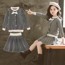 時尚格子裙 女童洋裝 兒童女秋冬連身裙2021新款公主裙子小孩洋氣毛衣6歲套裝 8號店