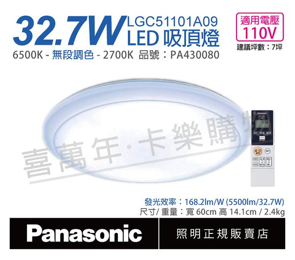 Panasonic國際牌 LGC51101A09 LED 32.7W 110V 經典無框 調光調色 遙控吸頂燈 _ PA430080