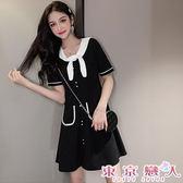 短袖洋裝 韓版娃娃領雙口袋收腰連身裙★東京戀人MS.Q★9150