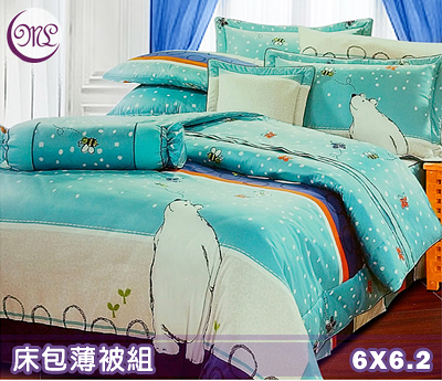 【Jenny Silk名床】淘氣北極熊.100%精梳棉.加大雙人床包組薄被套全套.全程臺灣製造