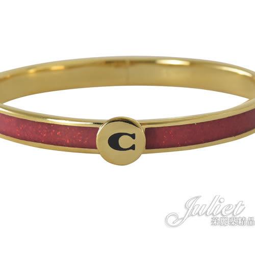 茱麗葉精品【全新現貨】 COACH 39599 新款 經典C亮片金邊框飾細版手環.紅