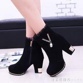 女靴冬季2018新款馬丁靴英倫風棉鞋加絨靴子粗跟高跟女鞋時尚短靴 漾美眉韓衣