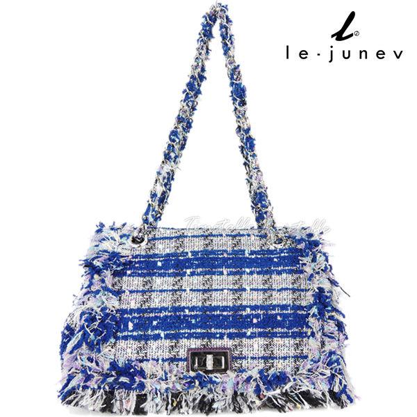 le-junev 華麗優雅時尚毛呢鍊帶包-藍x紫 / 大 (L1311-Purple+Blue)