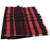茱麗葉精品 全新精品 BURBERRY 3968118 英系經典格紋純羊毛披肩大圍巾.紅黑