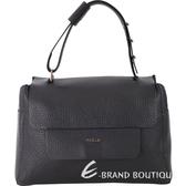 FURLA Capriccio M 荔紋皮革手提包(黑色) 1820321-01