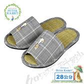 【クロワッサン科羅沙】Peter Rabbit 經典細格室內草蓆拖鞋 (灰色28CM)