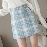 出清288 韓系時尚高腰毛呢格紋收腰顯瘦單品短裙