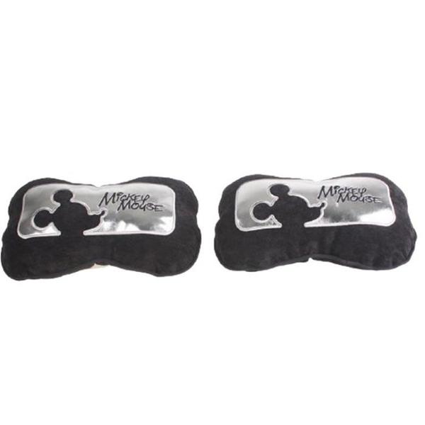 車之嚴選 cars_go 汽車用品【WD-166C】迪士尼Disney Mickey Mouse米奇 頸靠墊 頭枕 (2入) 銀黑色