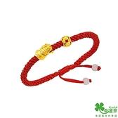 幸運草金飾 豐財貔貅 黃金中國繩手鍊