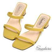 訂製鞋 簡約一字細帶方頭拖鞋-黃色下單區