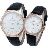 【台南 時代鐘錶 SIGMA】簡約時尚 藍寶石鏡面典雅情人對錶 1636L-R2 1636M-R2 皮帶 玫瑰金/白