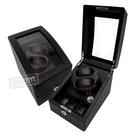 機械錶自動上鍊收藏盒 1旋2入錶座轉動+3入收藏 LED燈 高質感碳纖維 - 黑色 #R123-L-5P