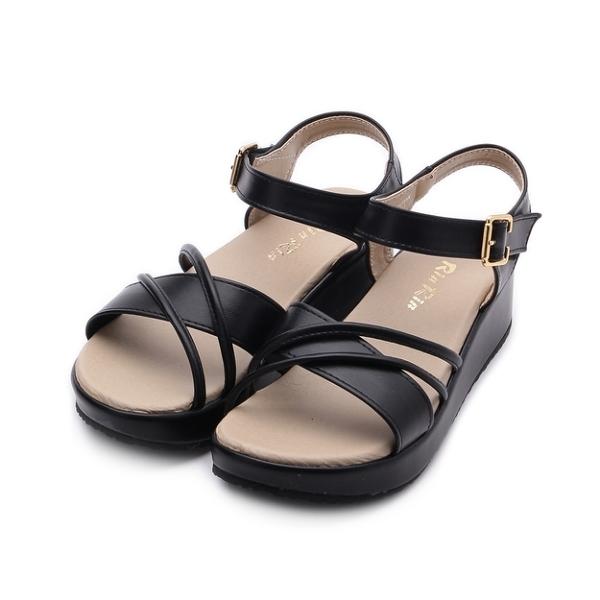 RIN RIN 雙繩楔形涼鞋 黑 女鞋