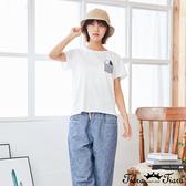 【Tiara Tiara】百貨同步新品aw雜 胸前小口袋貓咪造型T恤(白/藍綠)